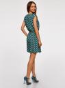 Платье принтованное из вискозы oodji для женщины (зеленый), 11910073-2/45470/6912D