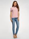 Блузка из струящейся ткани с контрастной отделкой oodji #SECTION_NAME# (розовый), 11401272-1/36215/4129B - вид 6