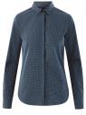 Рубашка хлопковая с нагрудным карманом  oodji #SECTION_NAME# (синий), 13K03013-1/36217/7910D