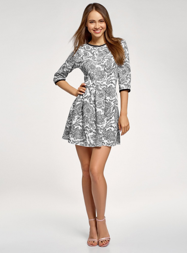Платье трикотажное со складками на юбке oodji #SECTION_NAME# (белый), 14001148-1/33735/1229E