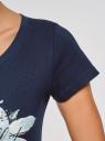 Футболка с принтом oodji для женщины (синий), 14701008-2/46154/796CP