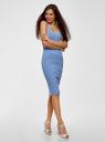 Платье трикотажное на тонких бретелях oodji для женщины (синий), 14015007-1B/45450/7410S