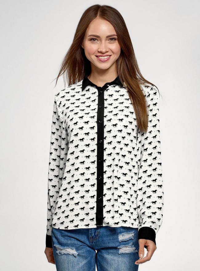 Блузка базовая из струящейся ткани oodji #SECTION_NAME# (белый), 11400368-7B/43414/1229O