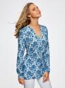 Блузка принтованная из вискозы oodji #SECTION_NAME# (синий), 21412143/42127/1075E - вид 2