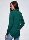 Блузка прямого силуэта с нагрудным карманом oodji для женщины (зеленый), 11411134B/48853/6E02N