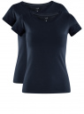Комплект из двух базовых футболок oodji для женщины (синий), 14701008T2/46154/7900N