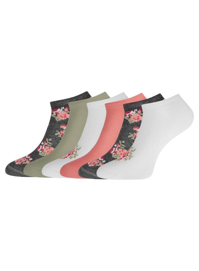 Комплект укороченных носков (6 пар) oodji для женщины (разноцветный), 57102433T6/47469/43
