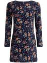 Платье принтованное с молнией на спине oodji #SECTION_NAME# (синий), 21900333/43299/7919F
