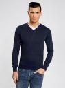 Пуловер с хлопковой вставкой на груди oodji #SECTION_NAME# (синий), 4B212006M/39245N/7910B - вид 2