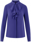 Блузка из струящейся ткани с воланами oodji #SECTION_NAME# (синий), 21411090/36215/7500N