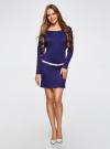 Платье трикотажное с ремнем oodji #SECTION_NAME# (синий), 14008010/15640/7500N - вид 2
