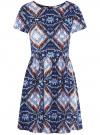 Платье принтованное из вискозы oodji для женщины (синий), 11900191/26346/7970E