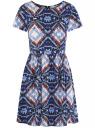 Платье принтованное из вискозы oodji #SECTION_NAME# (синий), 11900191/26346/7970E