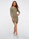 Платье трикотажное базовое oodji #SECTION_NAME# (зеленый), 14001071-2B/46148/6630S - вид 6