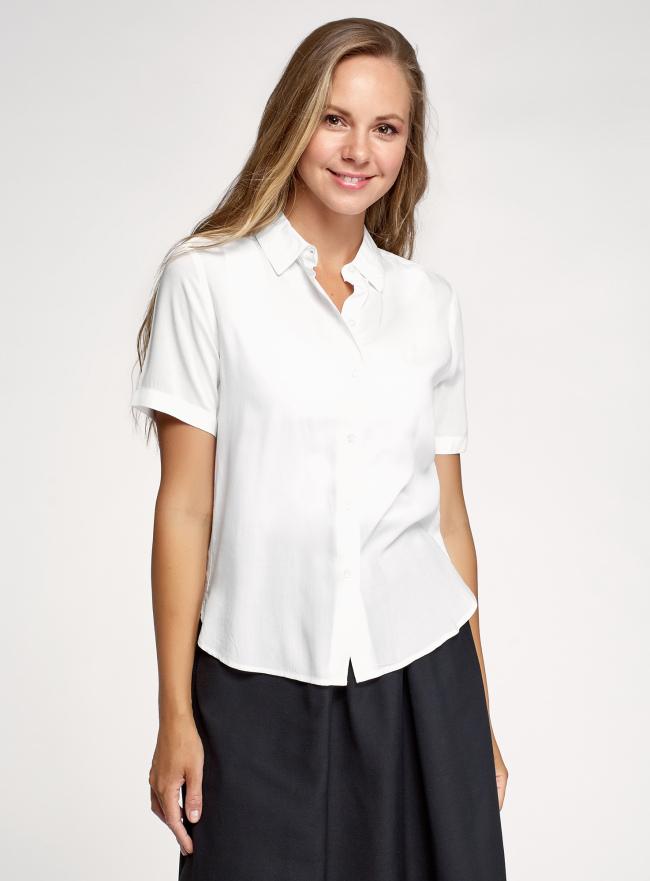 Блузка из вискозы с коротким рукавом oodji для женщины (белый), 11411137-5B/42540/1200N