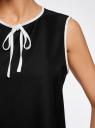 Блузка с контрастной отделкой oodji #SECTION_NAME# (черный), 11411047/42405/2912B - вид 5