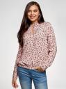 Блузка свободного силуэта из струящейся ткани oodji #SECTION_NAME# (розовый), 11400454/42540/4029F - вид 2