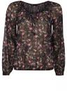 Блузка принтованная с завязками oodji #SECTION_NAME# (черный), 21418013-2M/17358/2919F