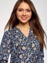 Блузка вискозная прямого силуэта oodji #SECTION_NAME# (синий), 21400394-1B/24681/7970F - вид 4