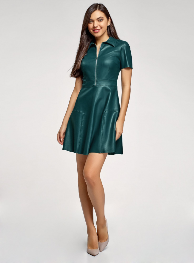 Платье из искусственной кожи с короткими рукавами с молнией на груди oodji #SECTION_NAME# (зеленый), 18L02002/45902/6C00N
