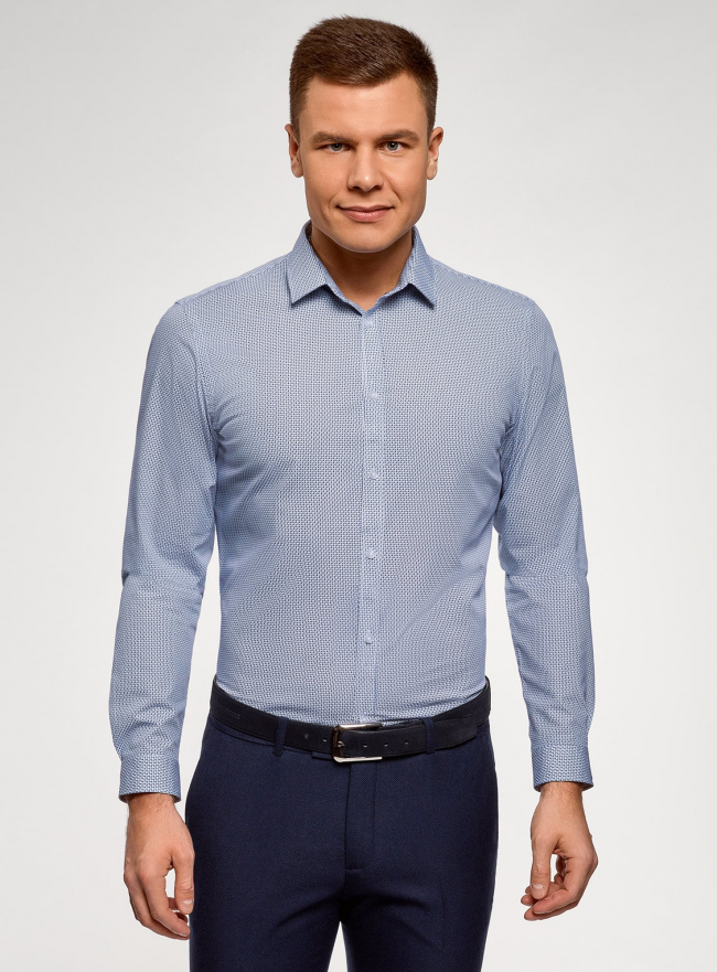 Рубашка приталенная из хлопка oodji #SECTION_NAME# (синий), 3L110356M/44425N/1075G