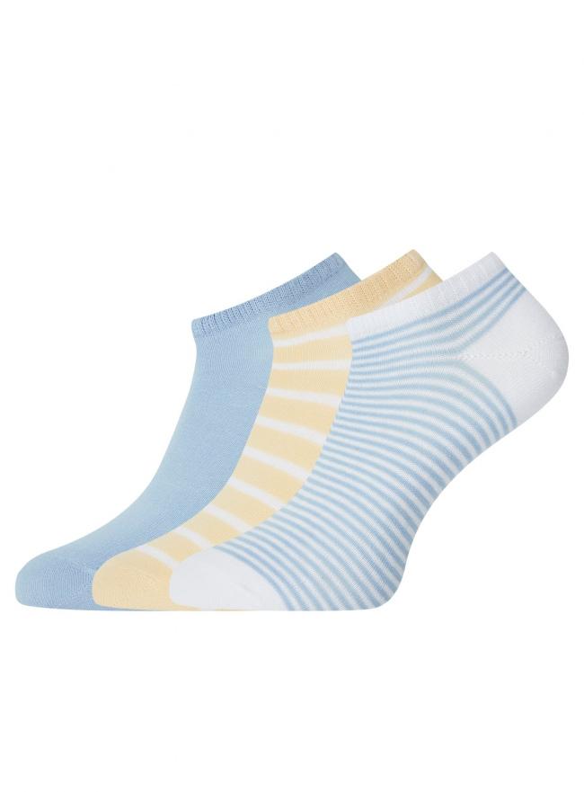 Комплект из трех пар укороченных носков oodji для женщины (разноцветный), 57102433T3/47469/19S6S