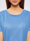 Футболка укороченная из ткани в полоску oodji #SECTION_NAME# (синий), 15F01002-2/46690/7500N - вид 4