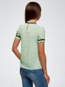 Блузка из струящейся ткани с контрастными отделками oodji для женщины (зеленый), 11401272/36215/6529D