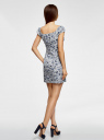Платье принтованное из хлопка oodji #SECTION_NAME# (белый), 11902047-3/14885/1275F - вид 3