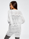 Кардиган ажурной вязки без застежки oodji для женщины (белый), 63207194/26279/1000N
