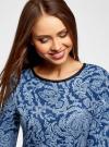 Платье трикотажное со складками на юбке oodji #SECTION_NAME# (синий), 14001148-1/33735/7970E - вид 4