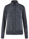 Блузка из струящейся ткани с нагрудными карманами oodji #SECTION_NAME# (синий), 11401278/36215/7930E