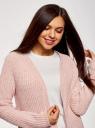 Кардиган фактурной вязки без застежки oodji для женщины (розовый), 63201002/47937/4000N