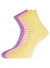 Комплект хлопковых носков в полоску (3 пары) oodji #SECTION_NAME# (разноцветный), 57102813T3/48022/8 - вид 2
