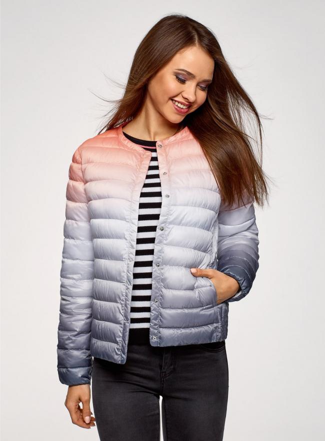 Куртка стеганая с круглым вырезом oodji для женщины (разноцветный), 10204040-1B/42257/4575T