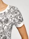 Свитшот принтованный с коротким рукавом oodji для женщины (белый), 14801008-1/45893/1229E
