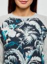Свитшот комбинированный с принтованной полочкой oodji для женщины (серый), 14807018-1/43623/2000M
