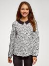 Блузка из струящейся ткани с контрастным воротником oodji #SECTION_NAME# (белый), 11411117-1B/49474/1229F - вид 2