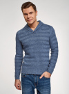 Пуловер вязаный в полоску с шалевым воротником oodji #SECTION_NAME# (синий), 4L207016M/44407N/7400M - вид 2