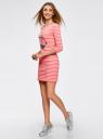 Платье трикотажное с декором из пайеток oodji для женщины (розовый), 14001071-3/46148/4391P