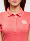 Поло с металлическими пуговицами и вышивкой на груди oodji #SECTION_NAME# (розовый), 29311001/39813N/4D00N - вид 4