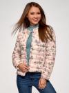 Куртка стеганая с круглым вырезом oodji для женщины (слоновая кость), 10204040-1B/42257/3041U - вид 2
