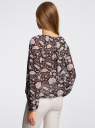 Блузка принтованная с завязками oodji #SECTION_NAME# (черный), 21418013-2/17358/2933F - вид 3