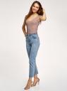 Майка вискозная с отделкой кружевом oodji для женщины (бежевый), 14315009/50000/3500N