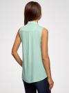 Топ вискозный с рубашечным воротником oodji #SECTION_NAME# (зеленый), 14911009B/26346/6502N - вид 3