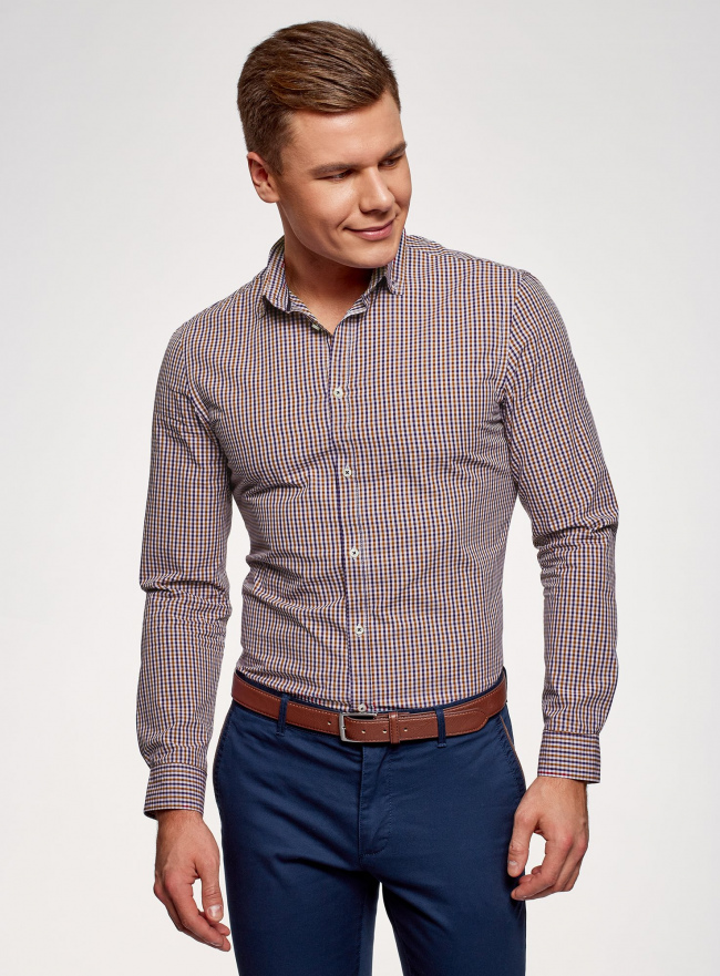 Рубашка хлопковая в клетку oodji для мужчины (красный), 3L110319M/47823N/7945C