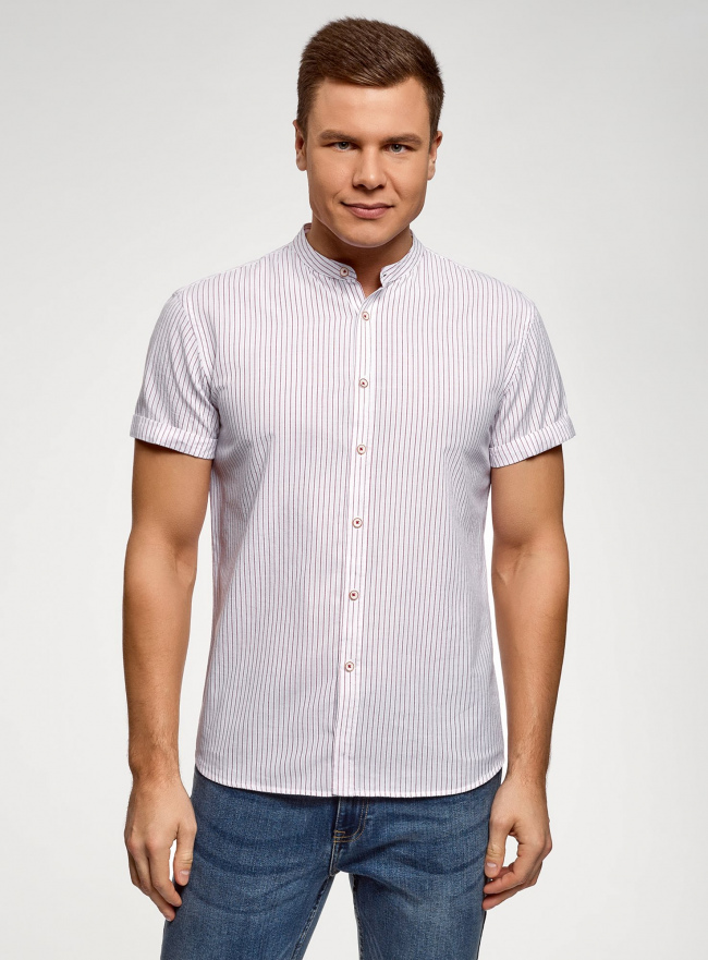 Рубашка хлопковая с коротким рукавом oodji #SECTION_NAME# (белый), 3L400002M/48202N/1245S