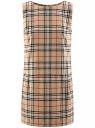 Платье клетчатое без рукавов oodji #SECTION_NAME# (бежевый), 11910072-2/32831/3529C