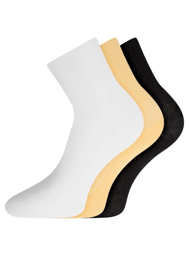 Комплект безбортных носков (3 пары) oodji для женщины (разноцветный), 57102801T3/48022/8