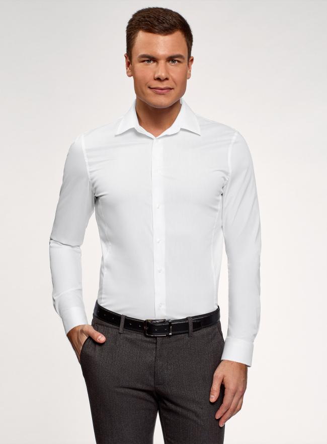 Рубашка базовая приталенная oodji #SECTION_NAME# (белый), 3B140000M/34146N/1000N